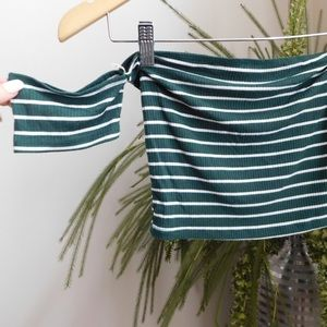 Green and WhiteStriped Bandeau